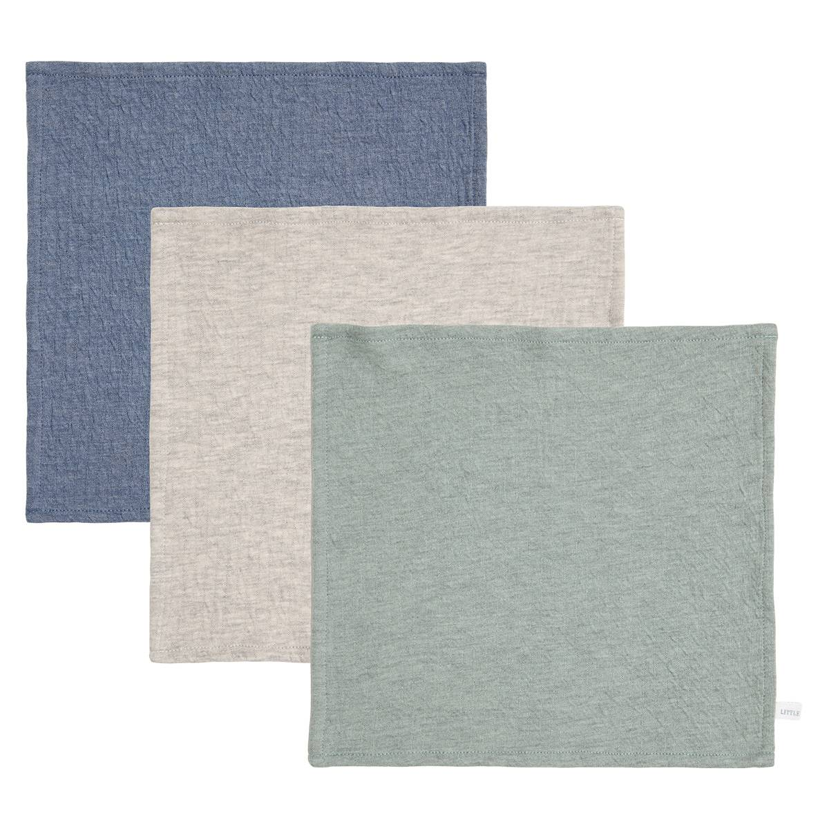 Little Dutch Lot de 3 Lingettes Pure - Blue, Grey & Mint