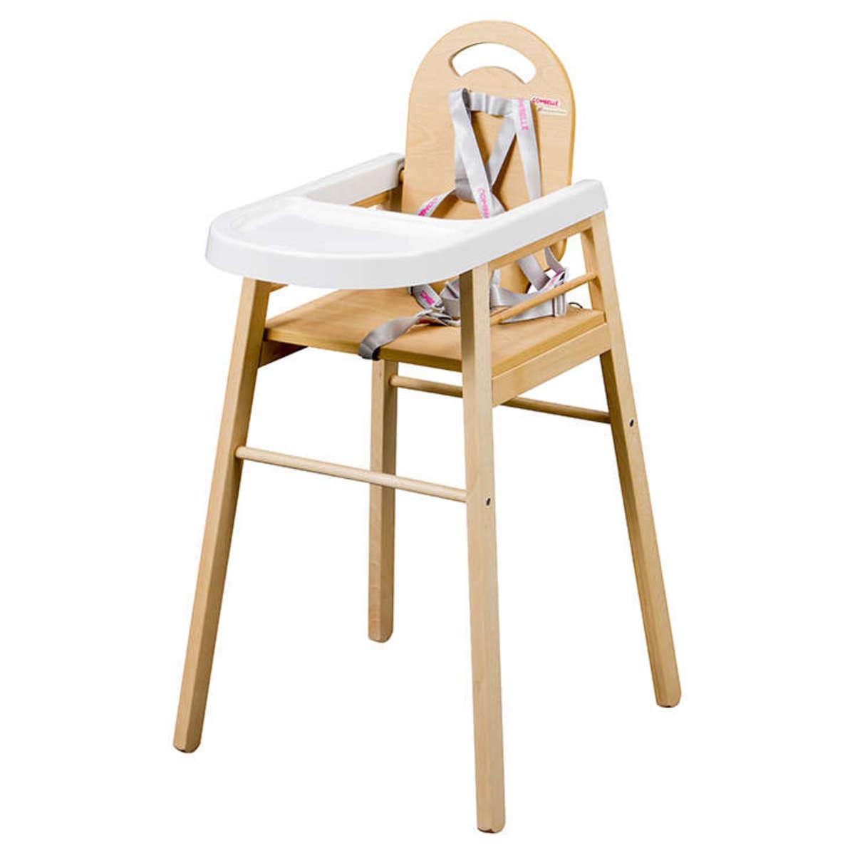 combelle chaise haute fixe lili - naturel