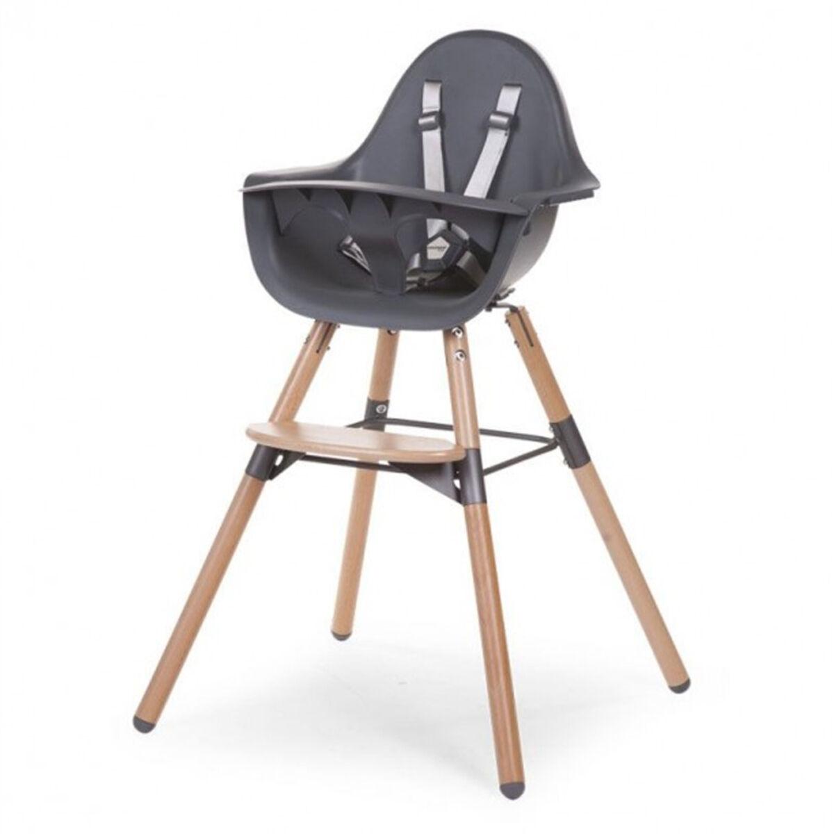 childhome chaise haute evolu 2 - bois et anthracite