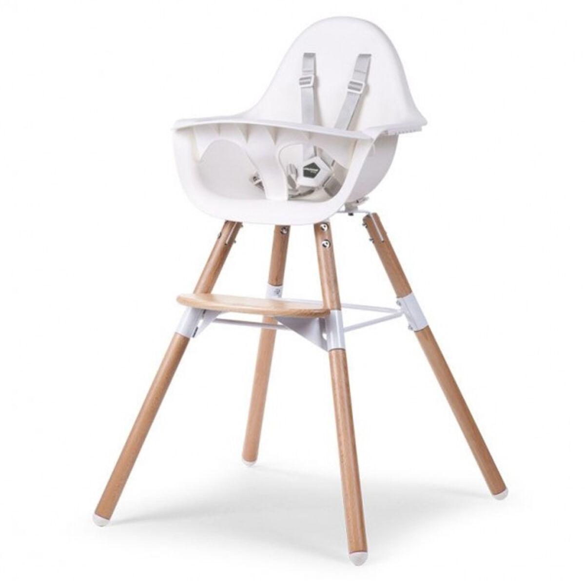 childhome chaise haute evolu 2 - bois et blanc