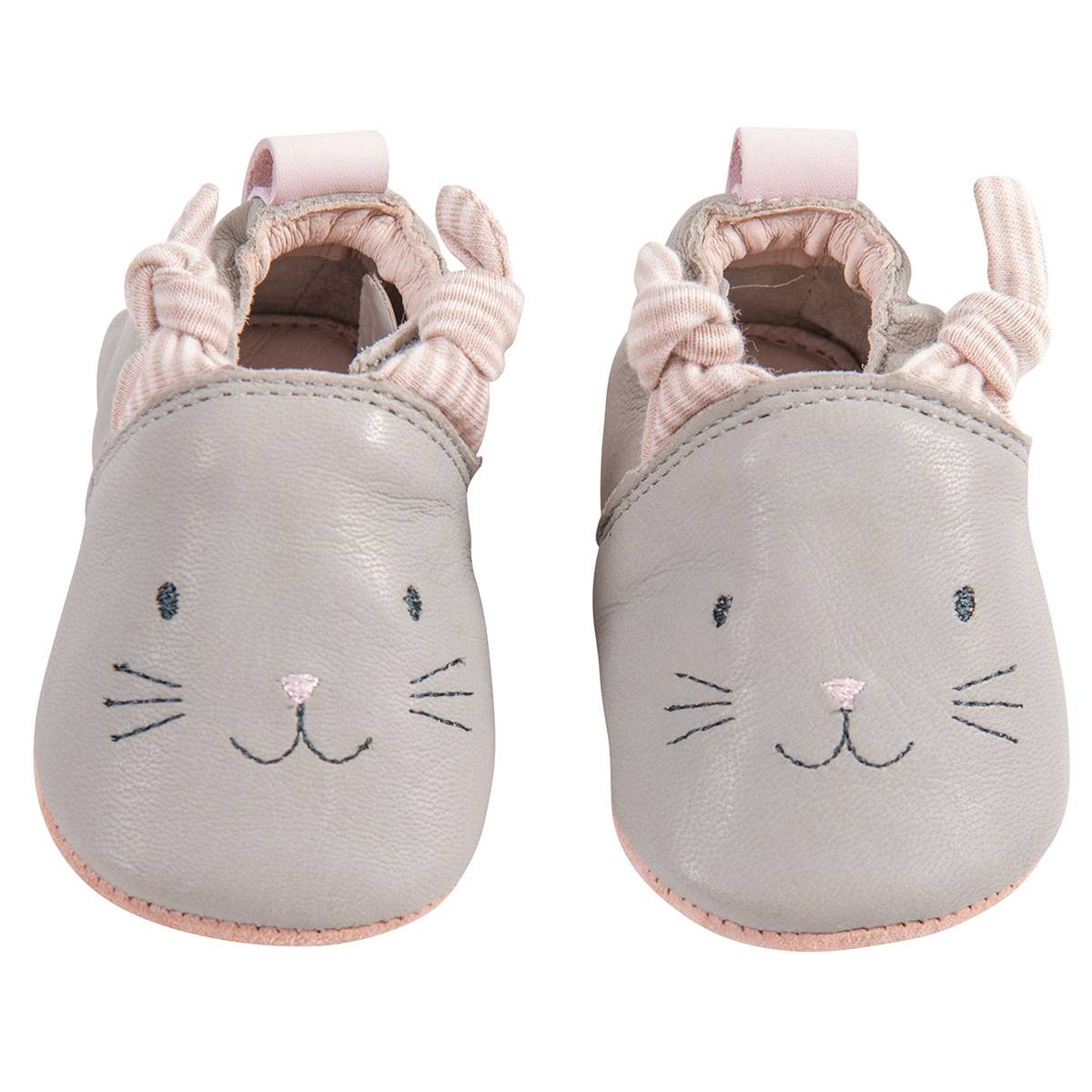 Moulin Roty Chaussons Cuir Gris Les Petits Dodos - 20/21