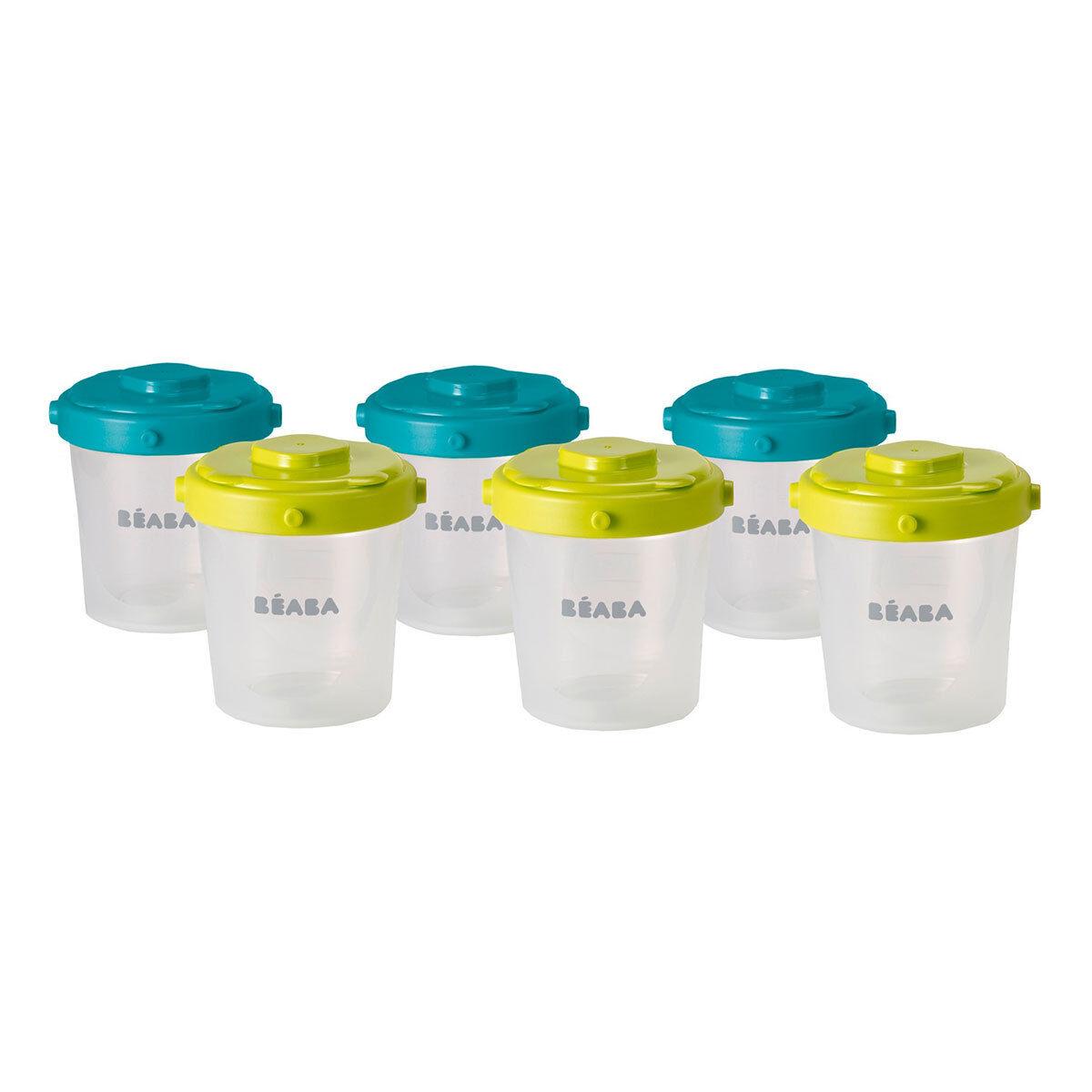 BÉABA Lot de 6 Portions Clip 2ème âge 200 ml - Bleu/Vert