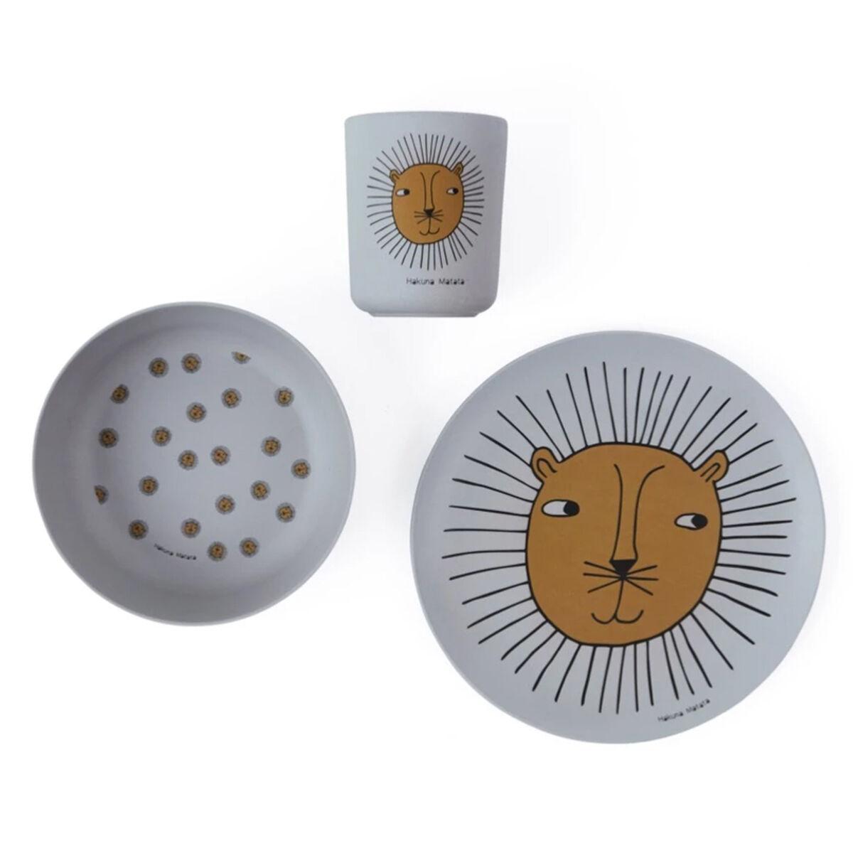 oyoy coffret repas 3 pièces - lion