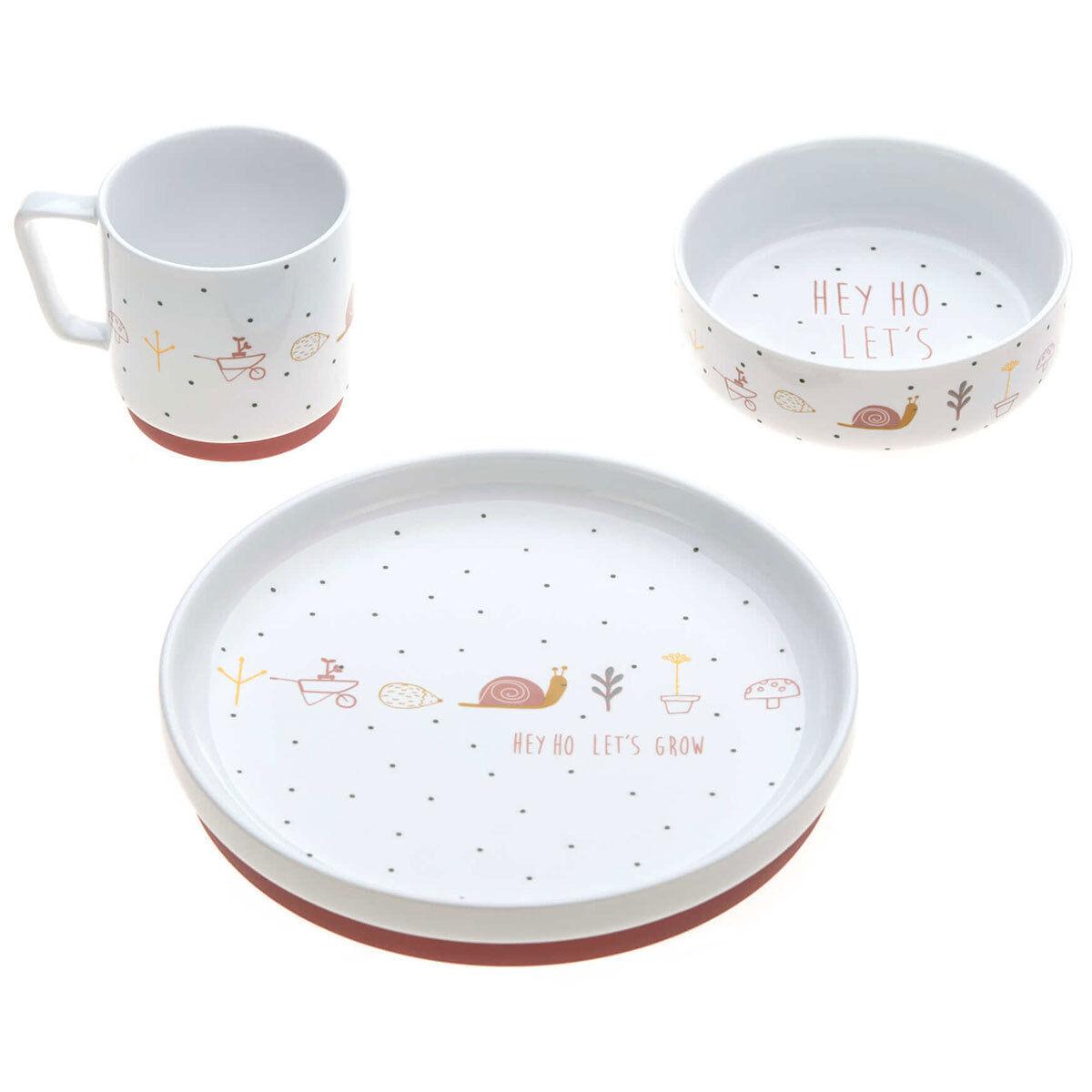 lÄssig coffret repas en porcelaine garden explorer - rose