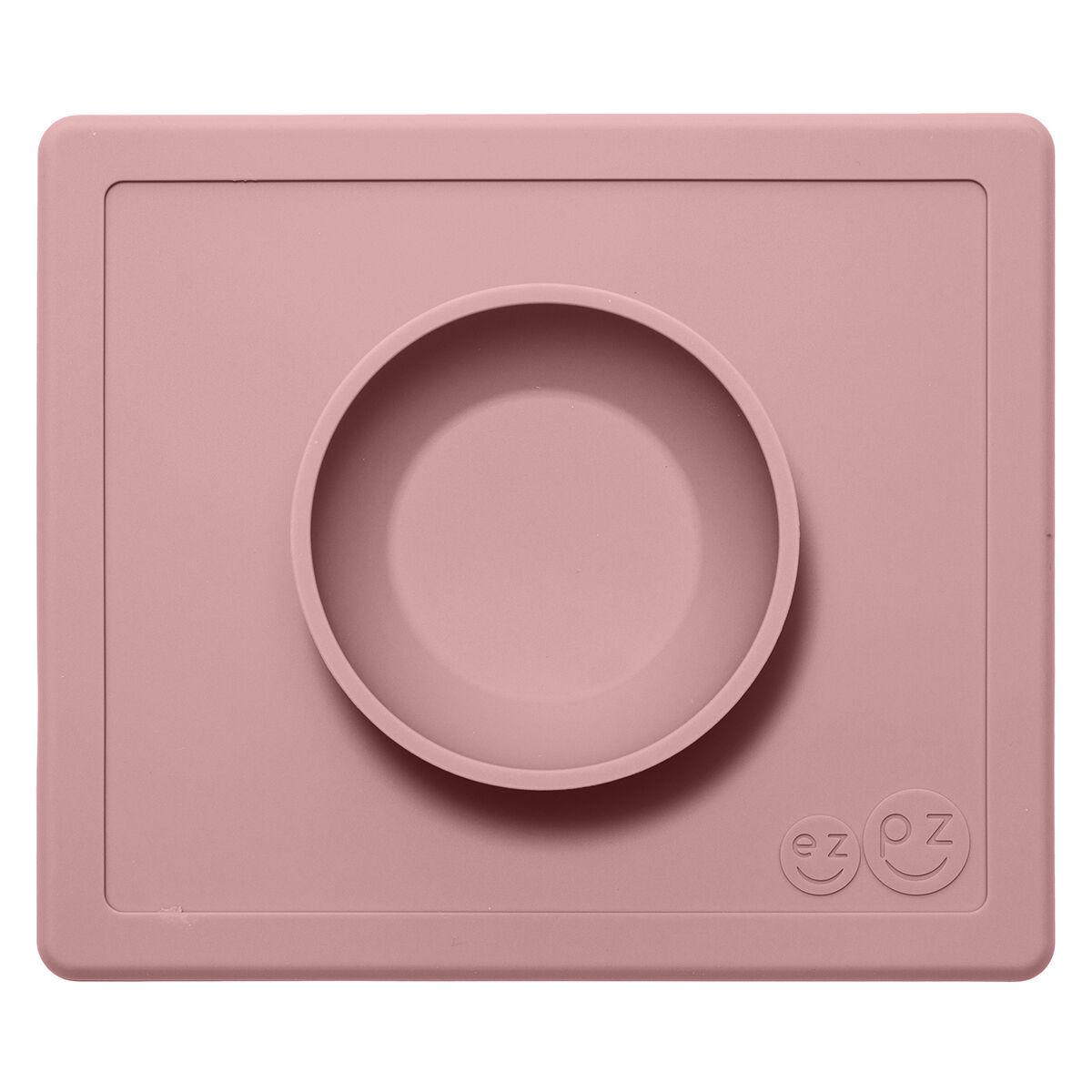 ezpz Set de Table et Assiette Tout-en-1 Irrenversable Happy Bowl - Rose Poudré