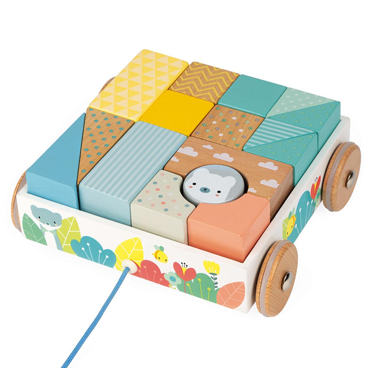 Janod Chariot de Cubes à Promener Pure