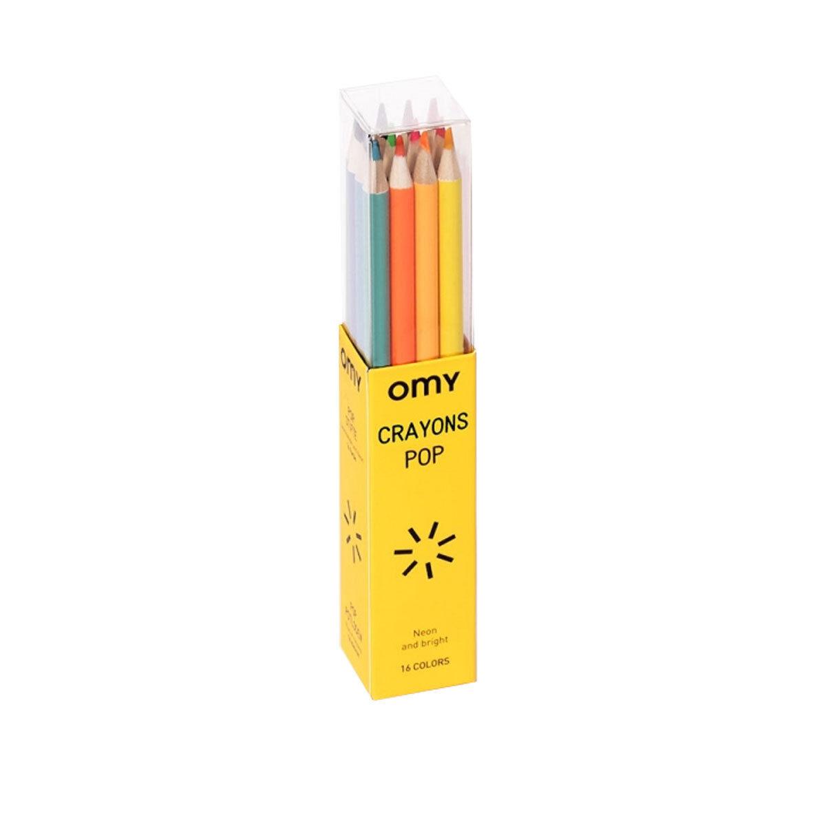 omy boite de 16 crayons de couleurs pop