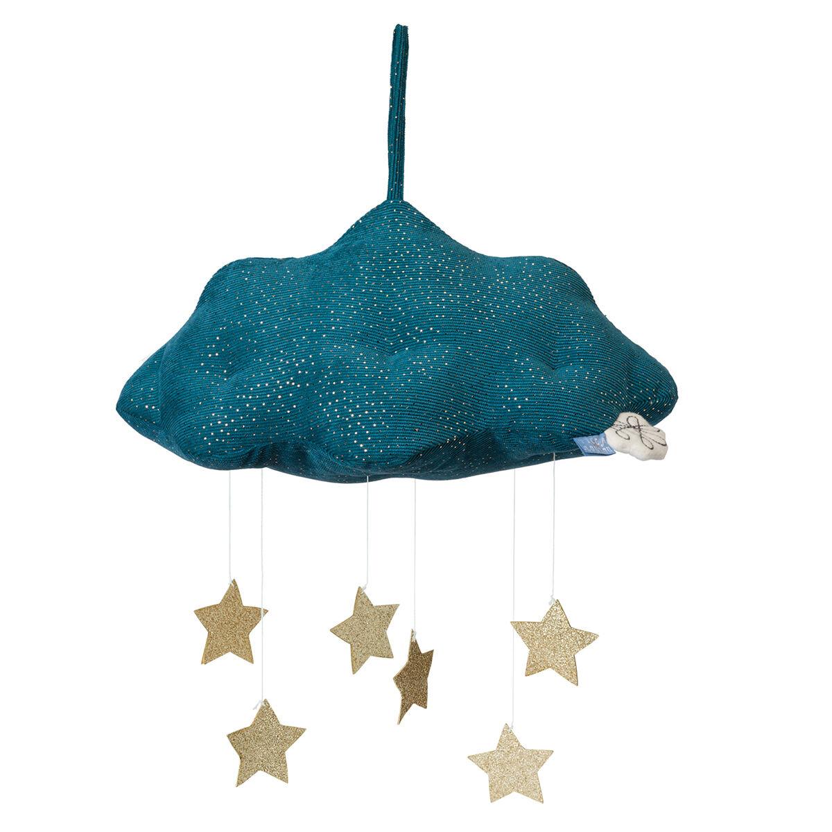 Picca Loulou Nuage en Velours Côtelé avec Etoiles - Bleu