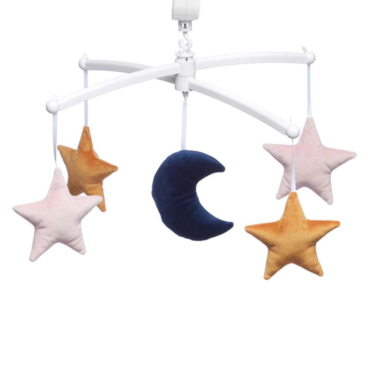 Pouce et Lina Mobile Lune et Etoiles Velvet - Rose