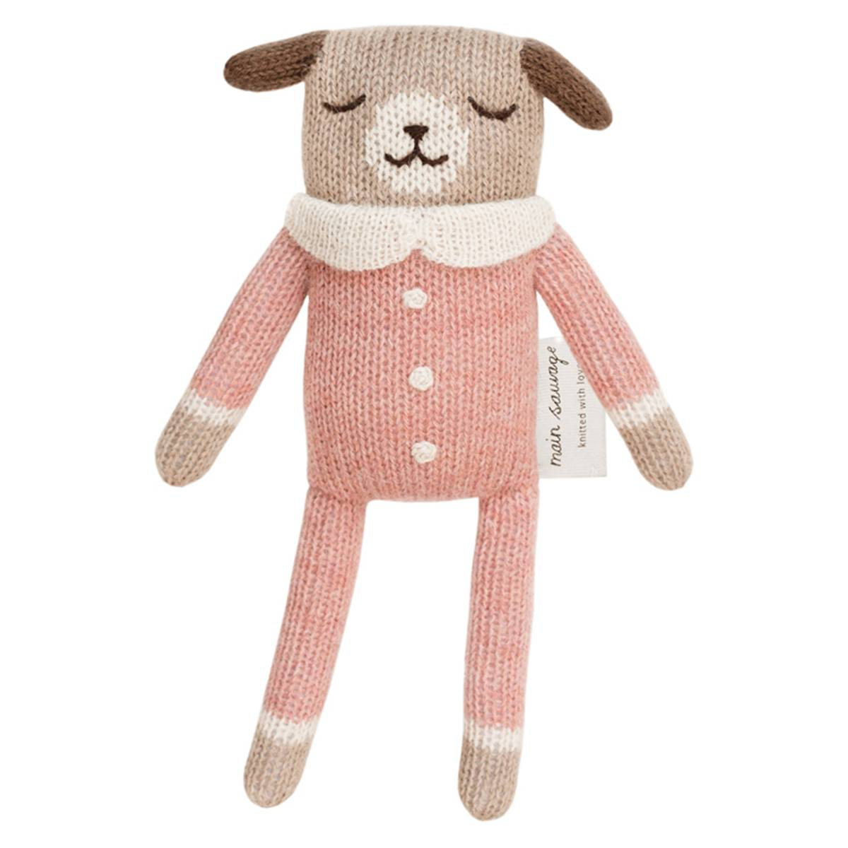 Main Sauvage Doudou Chien - Rose