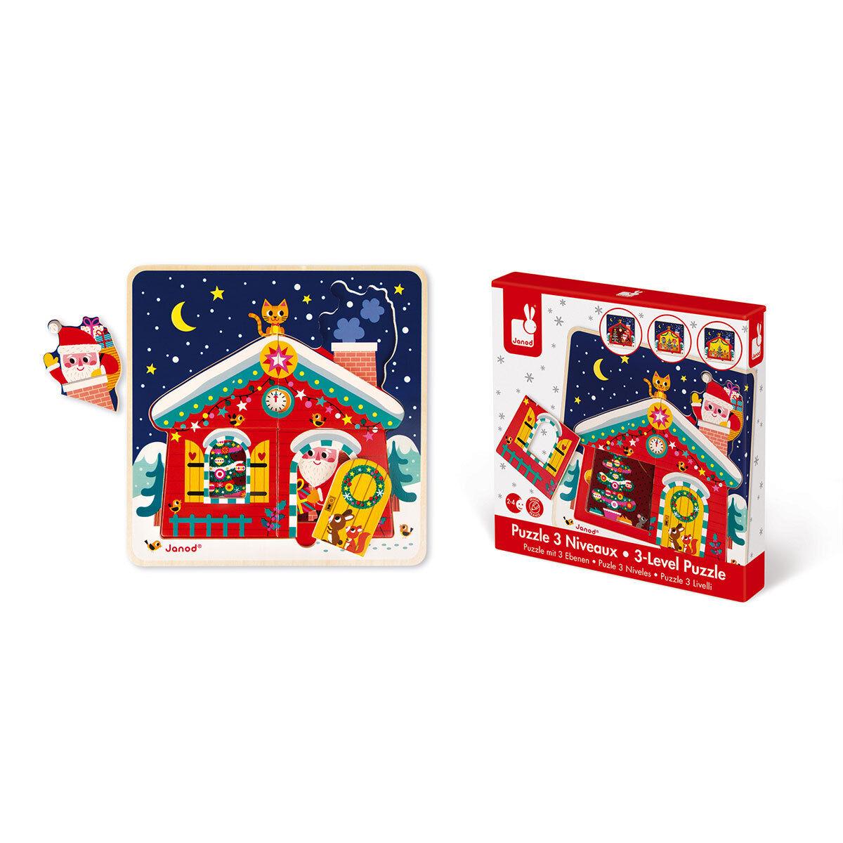 Janod Puzzle 3 Niveaux - La Nuit de Noël