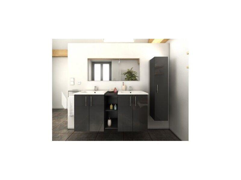Delorm Design Meuble de salle de bain 120cm + 1 colonne - LATINA - GRIS -