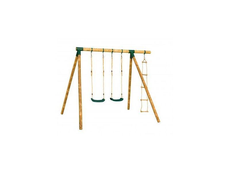 Chalet & Jardin Portique en bois CHEYENNE - 2 balançoires + 1 échelle