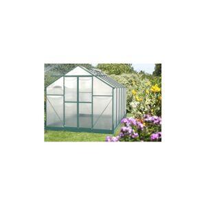 Habrita Serre en polycarbonate de jardin - 10.33m² - Aluminium laqué vert - Avec base - Sans Montage - Publicité
