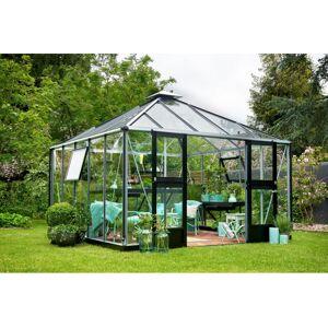 Juliana Serre en verre trempé 3 mm OASE 13,5m² - coloris aluminium/noir - avec base - Publicité