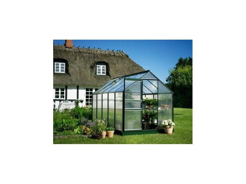 Halls Serre en polycarbonate de jardin POPULAR - 6.2 m² - En aluminium laqué vert - Avec base