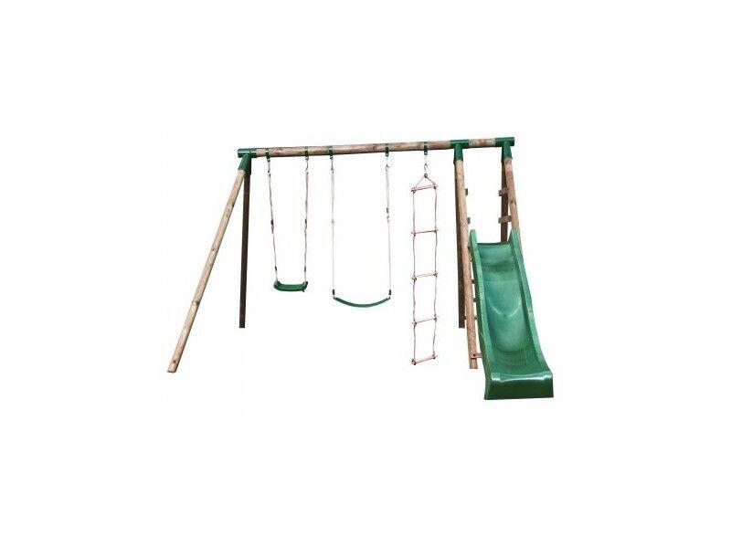 Chalet & Jardin Portique en bois NAVAJOS - 1 toboggan + 2 balançoires + 1 échelle