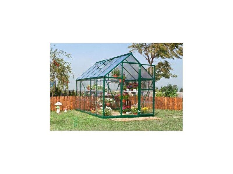 Hartman Serre en polycarbonate alvéolaire & transparent de jardin 86 - 4,65m² - Aluminium laqué vert - Avec base