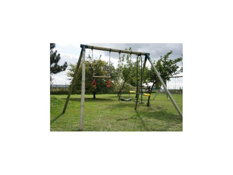 Chalet & Jardin Portique en bois balançoire + vis à vis + trapèze