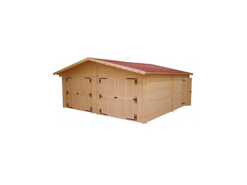 Habrita Garage double madriers massifs double rainurage / 60 mm / surface extérieure 42.16 m² / Fabriqué en Europe