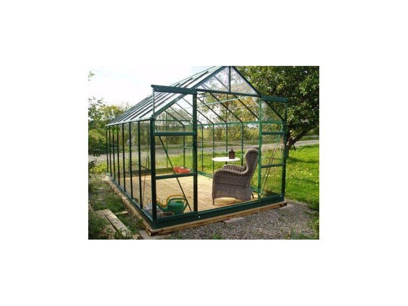 La Maison Du Jardin Serre en verre trempé 4 mm modèle 128 + Base - 8,9 m² - alu peint Vert