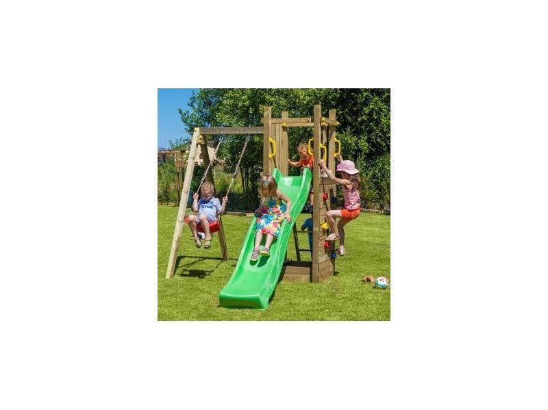 Chalet & Jardin Portique en bois AGLAE avec toboggan + balançoire + échelle + mur d'escalade et bac à sable
