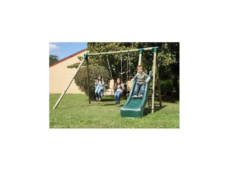 Chalet & Jardin Portique en bois toboggan + 2 balançoires + 1 échelle
