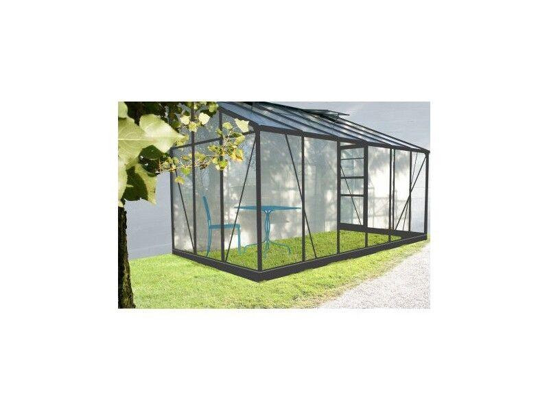Chalet & Jardin Serre de jardin en verre trempé SOLARIUM + Base - 9,7 m² + kit porte gauche
