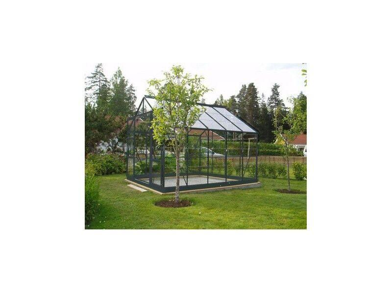 Chalet & Jardin Serre 128 - 8.88 m² en verre trempé. Aluminium laqué gris - Sans Base