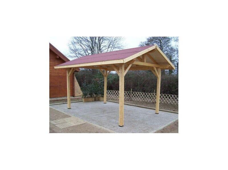 Habrita Carport en bois double pente KALKUTTA 19m² Avec montage