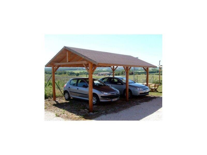 Habrita Carport 2 voitures en bois double pente KALKUTTA 30.73m² Avec montage