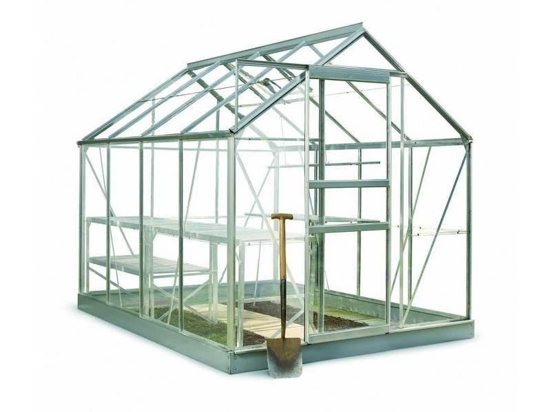 Halls Serre en verre horticole 3 mm POPULAR 86 - couleur aluminium - avec base