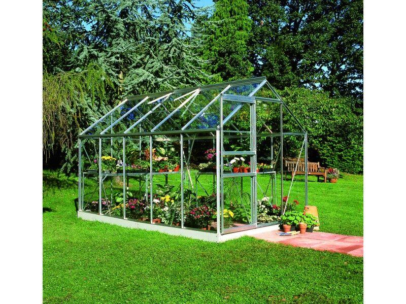 Halls Serre en verre horticole 3 mm POPULAR 106 - couleur aluminium - avec base
