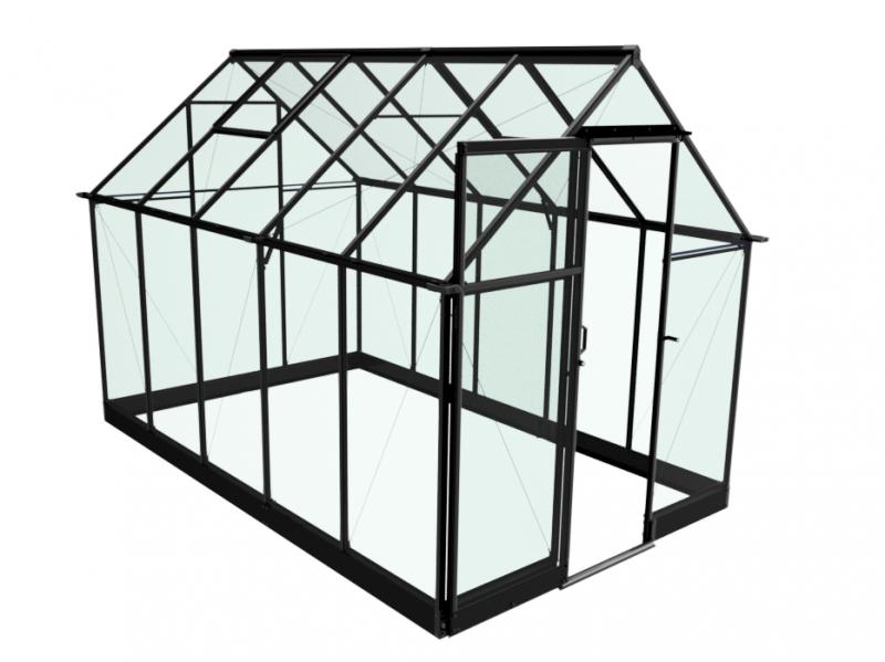 Halls Serre en verre trempé 3 mm QUBE 610 - couleur noir - avec base
