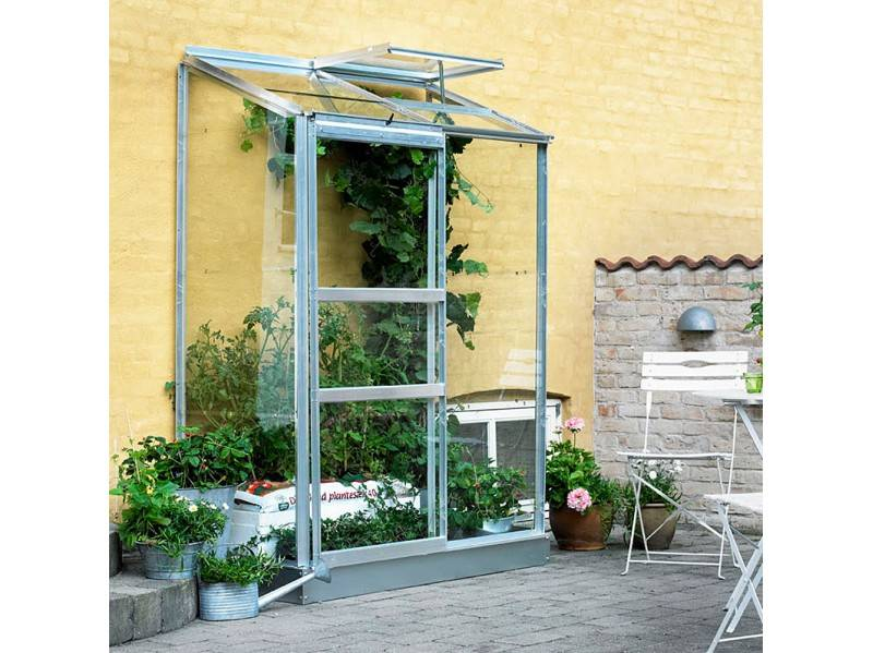 Halls Serre en verre horticole 3 mm ALTAN 2 - couleur aluminium - avec base