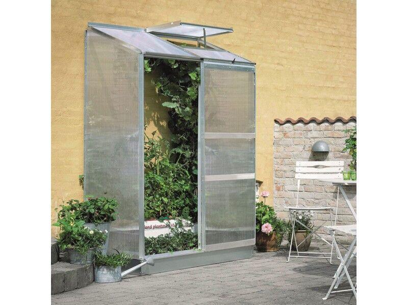 Halls Serre en polycarbonate 4 mm ALTAN 2 - couleur aluminium - avec base