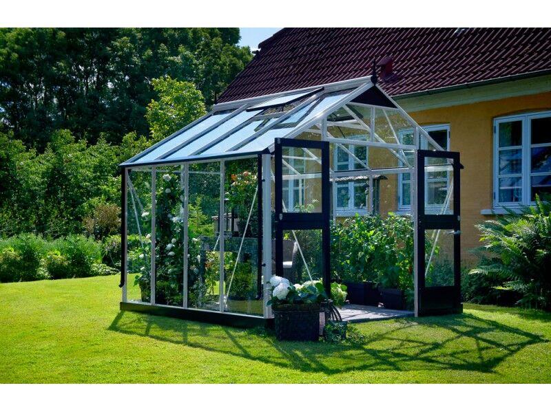 Juliana Serre en verre trempé 3 mm PREMIUM 8,8m² - coloris aluminium/noir - avec base