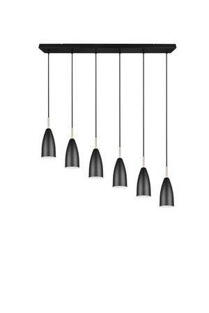 TRIO Lighting Lustre 6 abat-jour en métal noir mate FARIN de Triolighting