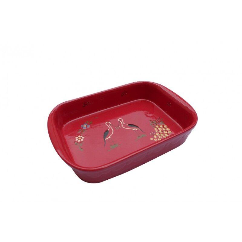 poterie Siegfried Burger Soufflenheim Plat à four cigogne rouge 4 tailles disponibles