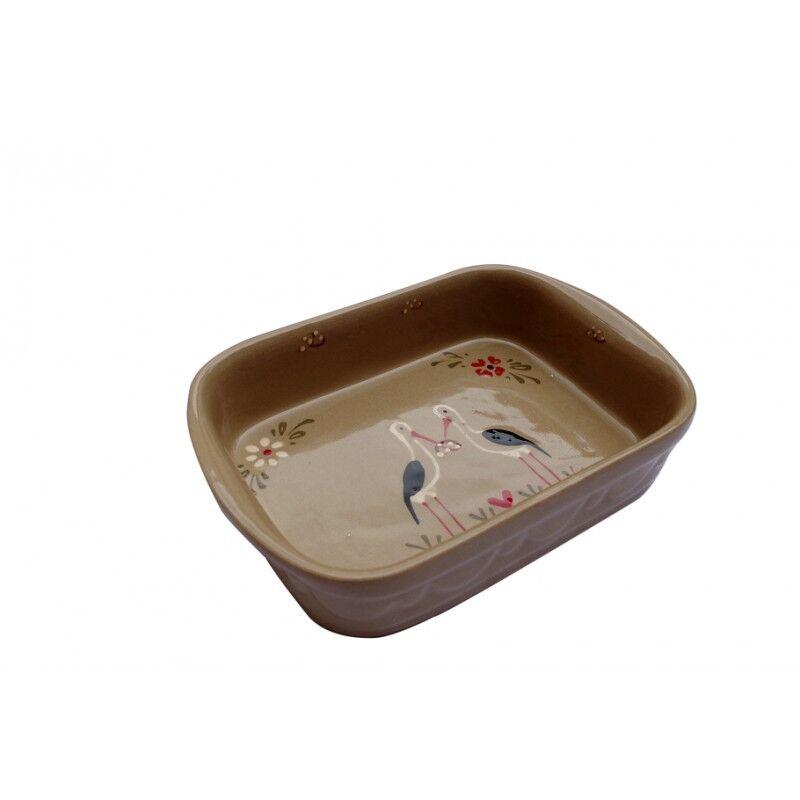 poterie Siegfried Burger Soufflenheim Plat à four cigogne gris 4 tailles disponibles