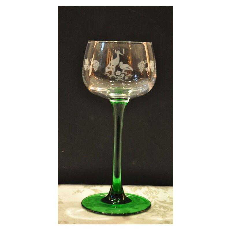 Luminarc 6 verres à vin d'Alsace, vin du Rhin cigogne/vigne