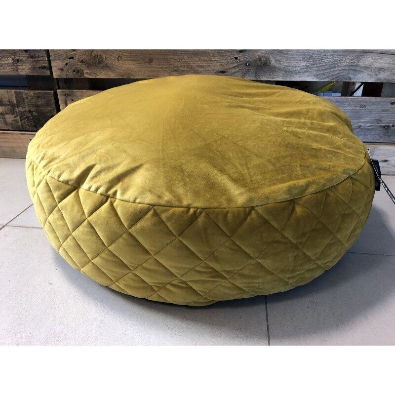 VADIGRAN pouf woof velours moutarde