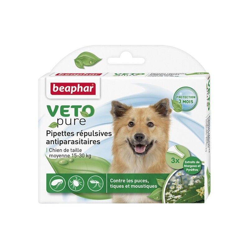BEAPHAR pipettes répulsives antiparasitaires pour chien moyen 15-30kg