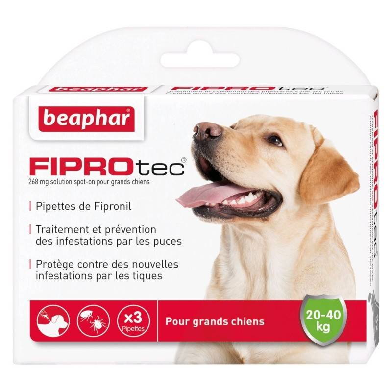 BEAPHAR fiprotec, pipettes antiparasitaires au fipronil pour grand chien (20-40kg)