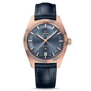 OMEGA Montre Omega Constellation Globemaster Co-Axial Master Chronometer calendrier annuel cadran bleu bracelet cuir bleu 41 mm