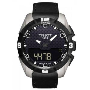 TISSOT Montre Tissot T-Touch Expert Solar quartz titane bracelet cuir noir 45 mm
