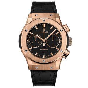 HUBLOT Montre Hublot Classic Fusion Chronograph King Gold cadran noir mat bracelet cuir et caoutchouc 45 mm