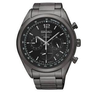 SEIKO Montre Seiko Sport quartz chronographe cadran noir bracelet acier titane carboné noir 44,9 mm