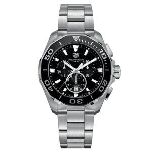 TAG HEUER Montre TAG Heuer Aquaracer quartz 300m chronographe cadran noir lunette noire bracelet acier 43 mm