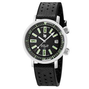 LIP Montre Lip Nautic Ski automatique cadran noir bracelet caoutchouc perforé noir 38 mm